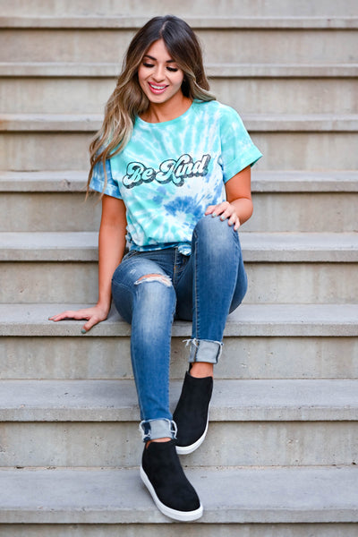 """Be Kind"" Tie Dye Graphic Tee - Blue & Green women's short sleeve tee with round neckline closet candy sitting 2"