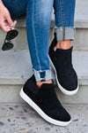 Gone For Now Wedge Sneakers - Black women's wedge slip-on sneakers with elastic band and cutout details at sides. A wedge sole hides under the sneaker's casual exterior, creating an ultra-flattering limb-lengthening illusion closet candy side