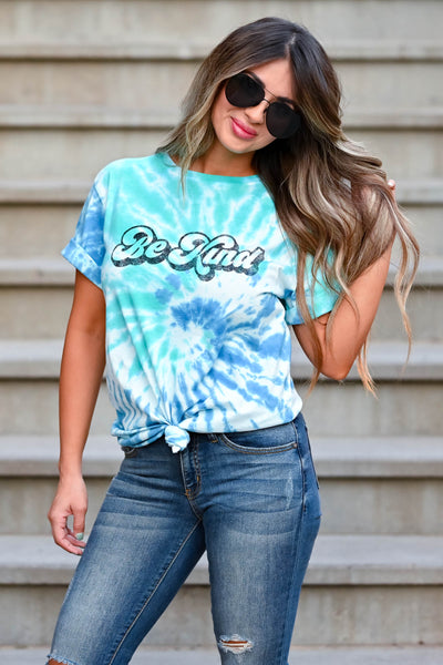 """Be Kind"" Tie Dye Graphic Tee - Blue & Green women's short sleeve tee with round neckline closet candy close up"