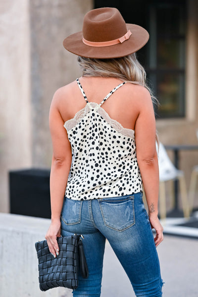 Spotted Around Lace Cami - Ivory womens trendy Spotted, lace trimmed camisole featuring adjustable spaghetti straps and racerback detail closet candy back