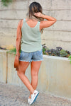 Don't Worry Knit Tank Top - Sage omen's knit tank top with thick straps and rounded v-neckline closet candy back