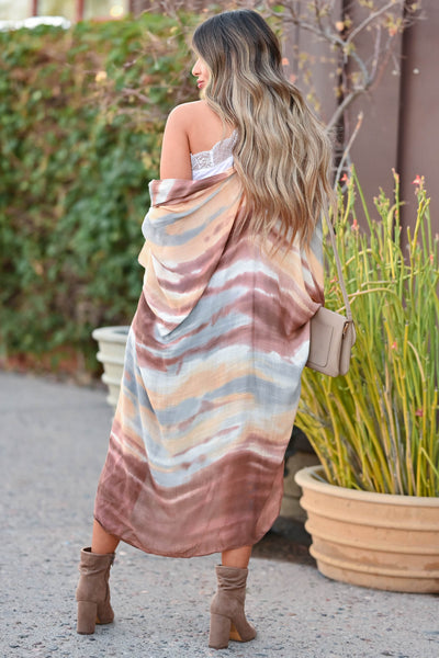 Meet You In Paradise Kimono - Sunset women's open front kimono with watercolor design and side split hem. One size fits most closet candy back