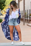 See The Good Tie Dye Kimono - Navy women's open front kimono with beautiful crochet contrast at back. One size fits most closet candy front 3