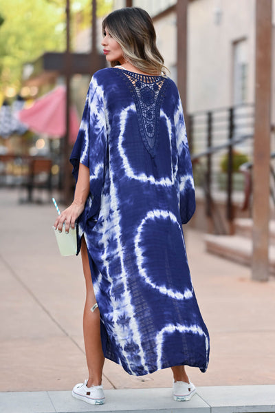 See The Good Tie Dye Kimono - Navy women's open front kimono with beautiful crochet contrast at back. One size fits most closet candy back
