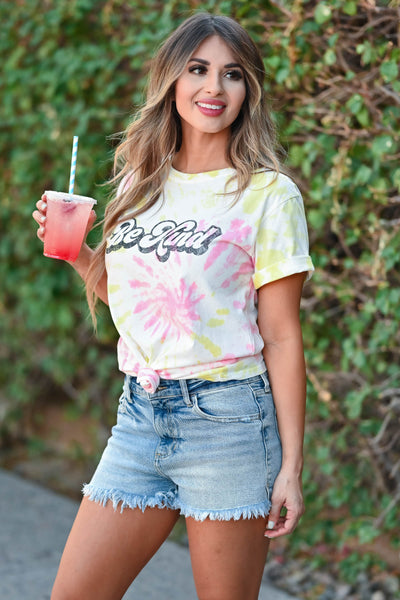 """Be Kind"" Tie Dye Graphic Tee - Pink & Yellow women's trendy short sleeve tee with round neckline closet candy side"