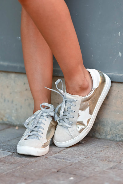 You're A Rockstar Sneakers - Gold womens trendy Gold lace up sneakers with taupe contrast and star design closet candy front