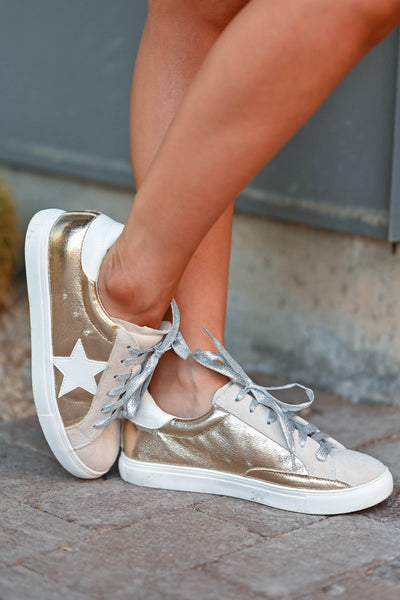 You're A Rockstar Sneakers - Gold womens trendy Gold lace up sneakers with taupe contrast and star design closet candy side