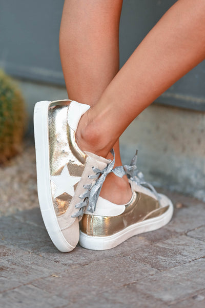 You're A Rockstar Sneakers - Gold womens trendy Gold lace up sneakers with taupe contrast and star design closet candy side 2