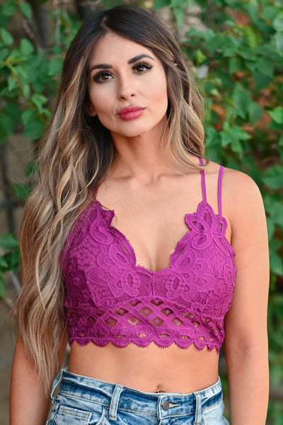 Day Dreamer Bralette - Magenta Women's double strap floral lace padded front bralette with criss cross back detail and scalloped edge. Smocked bandeau back and adjustable elastic straps closet candy close up 2
