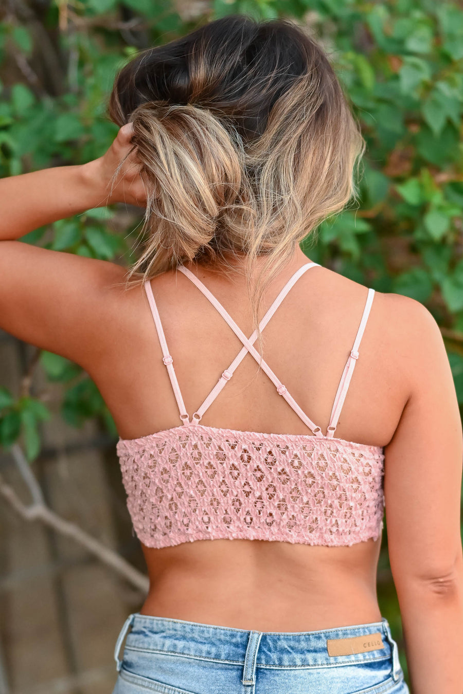 Day Dreamer Bralette - Pale Rose Women's double strap floral lace padded front bralette with criss cross back detail and scalloped edge. Smocked bandeau back and adjustable elastic straps closet candy close up