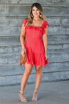 LUSH She's A Firecracker Mini Dress - Red women's woven mini dress featuring square neckline with ruffle overlay, short ruffle sleeves, lace trim, decorative button details at front, and ruffled hem closet candy front