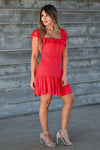 LUSH She's A Firecracker Mini Dress - Red women's woven mini dress featuring square neckline with ruffle overlay, short ruffle sleeves, lace trim, decorative button details at front, and ruffled hem closet candy front 2