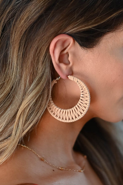 Search Is Over Earrings - Nude women's trendy crescent hoop earrings with hinged snap back closure closet candy close up