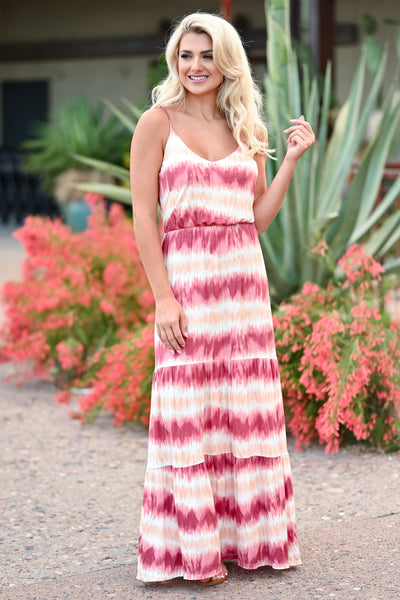 LUSH Take A Chance Maxi Dress - Wine & Peach womens trendy tie dye adjustable strap maxi dress closet candy front