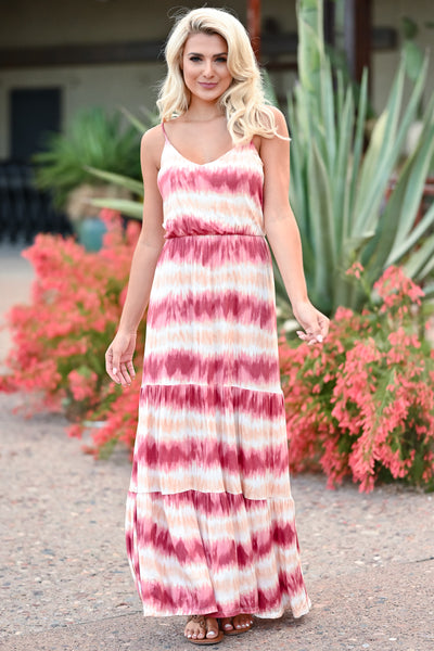LUSH Take A Chance Maxi Dress - Wine & Peach womens trendy tie dye adjustable strap maxi dress closet candy front 2