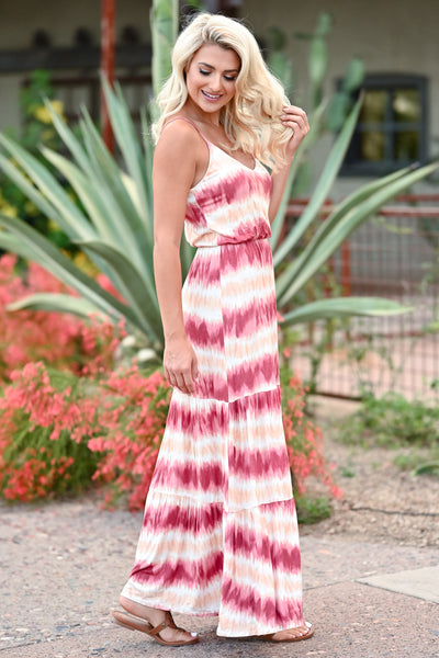 LUSH Take A Chance Maxi Dress - Wine & Peach womens trendy tie dye adjustable strap maxi dress closet candy side