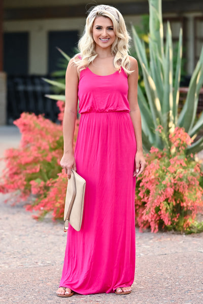 CBRAND Beachside Classic Maxi - Fuchsia womens casual adjustable strap long dress closet candy front 2