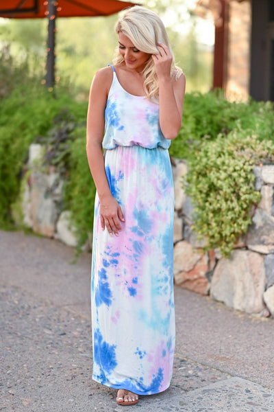 CBRAND Beachside Classic Maxi Dress - Tie Dye Blue womens trendy tie dye long summer dress closet candy front 3