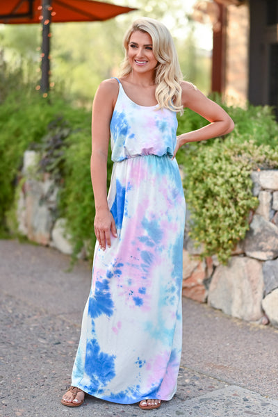 CBRAND Beachside Classic Maxi Dress - Tie Dye Blue womens trendy tie dye long summer dress closet candy front 2