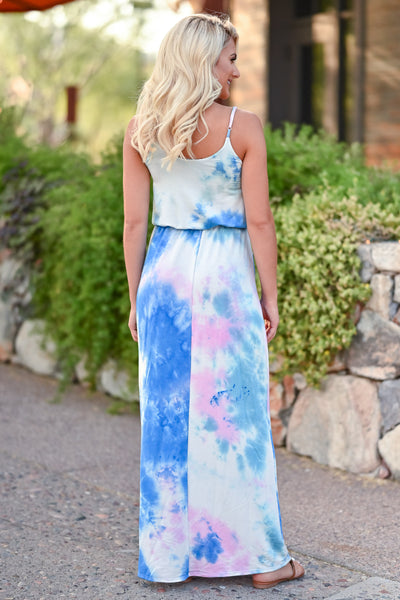 CBRAND Beachside Classic Maxi Dress - Tie Dye Blue womens trendy tie dye long summer dress closet candy back