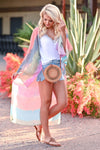 Where The Skies Are Blue Tie Dye Kimono - Multi womens trendy long tie dye kimono closet candy side