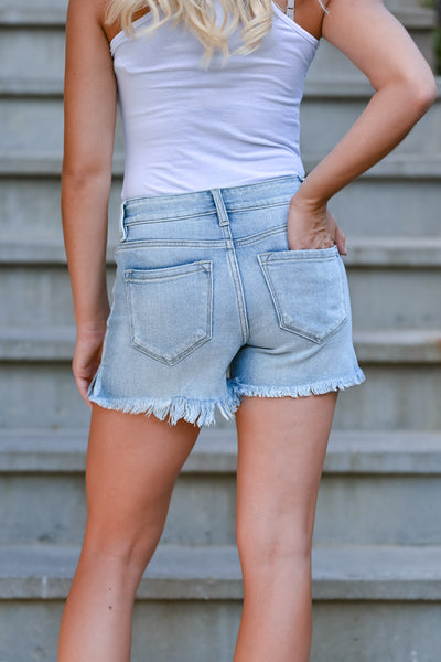 KAN CAN High Rise Sierra Denim Shorts - Light Wash womens casual distressed raw hem shorts closet candy back
