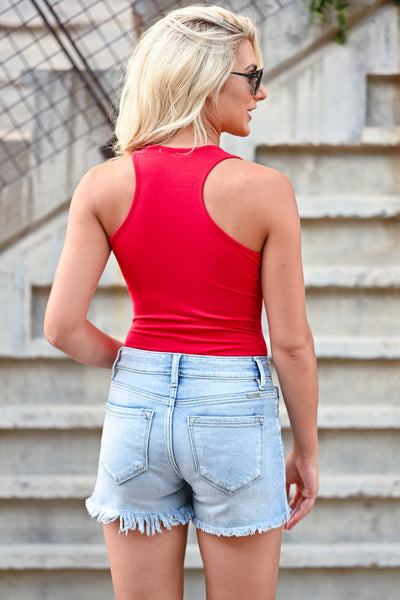 Feeling Good Basic Sleeveless Bodysuits - Red women's basic sleeveless racerback bodysuit closet candy back