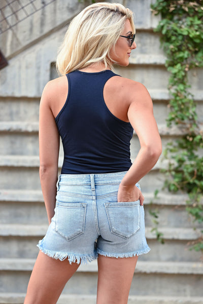 Feeling Good Basic Sleeveless Bodysuits - Navy women's basic sleeveless racerback bodysuit closet candy back