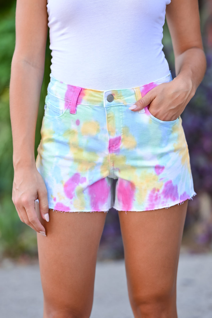 JUDY BLUE Raw Hem Denim Shorts - Tie Dye womens trendy tie dye shorts closet candy front