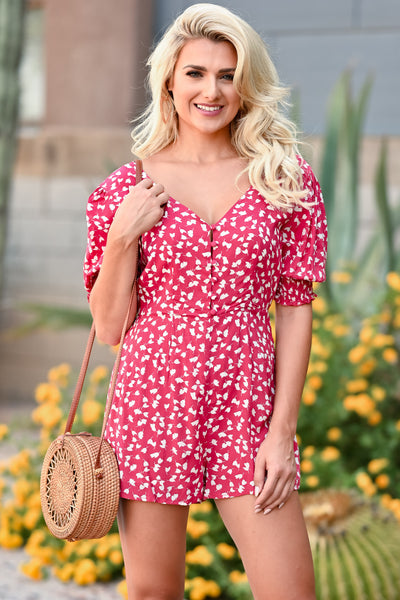 LUSH Country Club Romper - Red womens trendy button front printed romper closet candy front 3