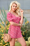 LUSH Country Club Romper - Red womens trendy button front printed romper closet candy front