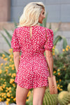 LUSH Country Club Romper - Red womens trendy button front printed romper closet candy back