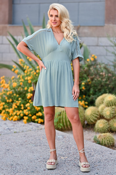 Time Tells All Dress - Sage womens trendy v neck crochet detail closet candy front