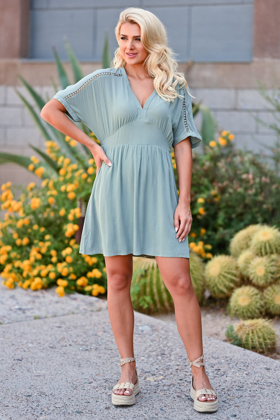 Time Tells All Dress - Sage womens trendy v neck crochet detail closet candy side