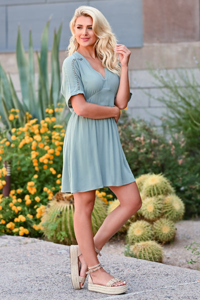 Time Tells All Dress - Sage womens trendy v neck crochet detail closet candy side 2