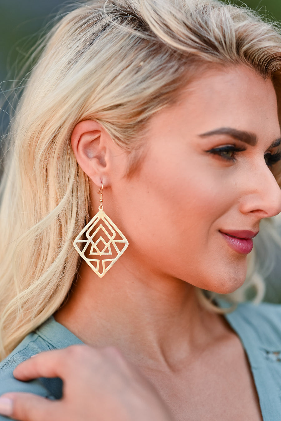 Sharp Edges Earrings - Gold womens trendy geometric diamond shape closet candy side