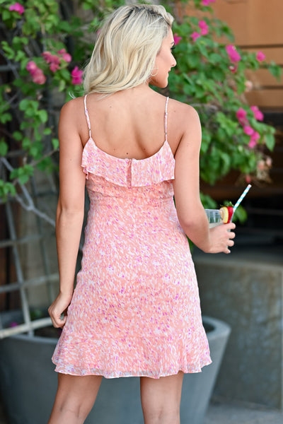 LUSH There For You Dress - Coral womens trendy ruffle printed dress closet candy back