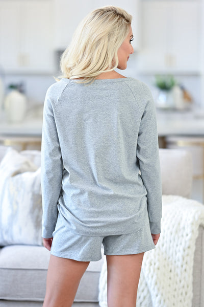 CBRAND At Peace Loungewear - Heather Grey womens casual long sleeve loungewear closet candy back
