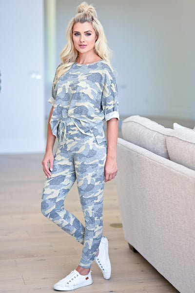 Getaway With Me Loungewear - Green Camo womens casual soft matching lounge set closet candy side 2