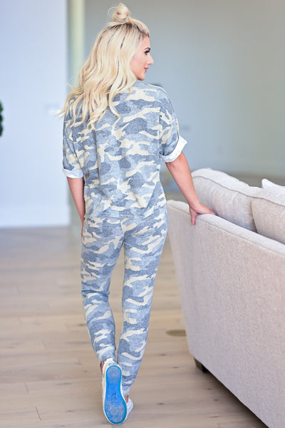 Getaway With Me Loungewear - Green Camo womens casual soft matching lounge set closet candy back