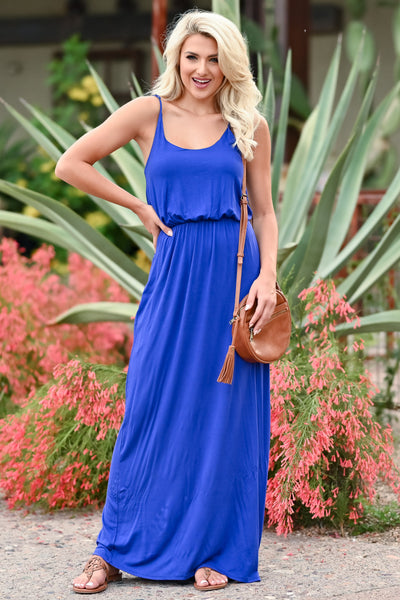 CBRAND Beachside Classic Maxi - Royal Blue womens casual adjustable strap long maxi dress closet candy front 3