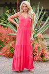 LUSH Take A Chance Maxi Dress - Coral womens trendy tiered long dress closet candy front 2