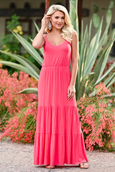 LUSH Take A Chance Maxi Dress - Coral womens trendy tiered long dress closet candy front