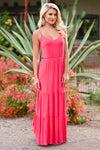 LUSH Take A Chance Maxi Dress - Coral womens trendy tiered long dress closet candy side