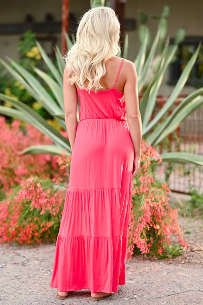 LUSH Take A Chance Maxi Dress - Coral womens trendy tiered long dress closet candy back
