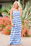 Beach Waves Tie Dye Maxi Dress - Blue womens trendy maxi tie dye dress closet candy front 3