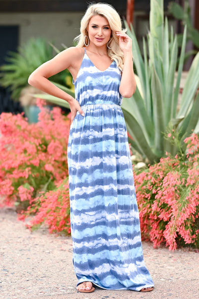 Beach Waves Tie Dye Maxi Dress - Blue womens trendy maxi tie dye dress closet candy front