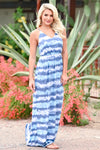 Beach Waves Tie Dye Maxi Dress - Blue womens trendy maxi tie dye dress closet candy front 2