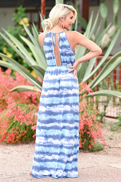 Beach Waves Tie Dye Maxi Dress - Blue womens trendy maxi tie dye dress closet candy back