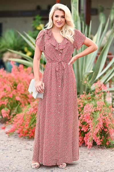 Walking With You Maxi Dress - Rust womens trendy floral ruffle detail  tie front maxi dress closet candy front 2